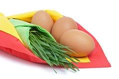Drie eieren met groen gras Royalty-vrije Stock Fotografie