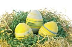 Drie eieren in nest Royalty-vrije Stock Afbeelding