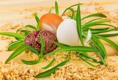 Drie eieren in nest van gras stock afbeeldingen