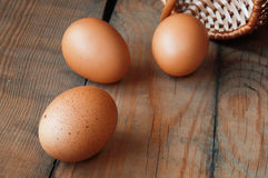 Drie eieren op de lijst Stock Afbeelding