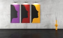 Drie eigentijdse schilderijen in een lege ruimte stock illustratie