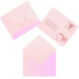 Drie enveloppen van de liefdepost op witte achtergrond Royalty-vrije Stock Afbeeldingen