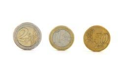 Drie euro muntstukken Royalty-vrije Stock Foto