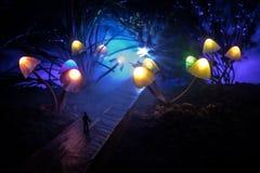 Drie fantasie gloeiende paddestoelen in geheimzinnigheid donker bosclose-up Mooi macroschot van magische binnen verloren paddesto stock foto's