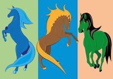 Drie fantastische paarden. Stock Afbeelding