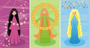 Drie feeën die onder zich worden verbonden Stock Foto