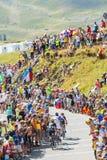 Drie Fietsers op Col. du Glandon - Ronde van Frankrijk 2015 stock afbeelding