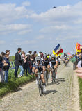 Drie Fietsers op Parijs-Roubaix 2014 Stock Foto's