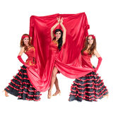 Drie flamencodanser het stellen op een geïsoleerd wit Stock Fotografie