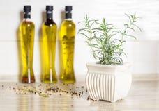 Drie flessen olijfolie met kruiden Stock Fotografie