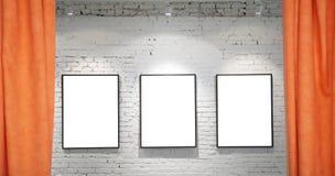 Drie frames op bakstenen muur en gordijnencollage Stock Fotografie