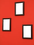 Drie frames op muur Stock Foto