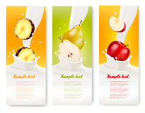 Drie fruit en melkbanners Stock Fotografie