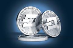 Drie fysieke die muntstukken van het Streepjeconcept op zacht aangestoken donkerblauwe achtergrond worden getoond royalty-vrije illustratie
