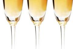 Drie geïsoleerde wijnglazen   royalty-vrije stock afbeeldingen