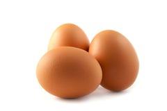 Drie Geïsoleerdec Eieren Stock Foto