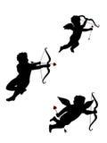 Drie geïsoleerdee Cupido's Stock Afbeelding