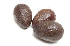 Drie geïsoleerdel avocado's Royalty-vrije Stock Fotografie