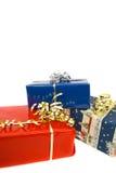Drie geïsoleerden gift-dozen Stock Foto