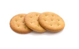 Drie geïsoleerdev crackers, Royalty-vrije Stock Foto