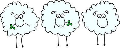 Drie geanimeerde grappige schapen vector illustratie