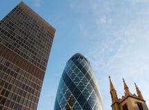 Drie gebouwen van de Stad van Londen Stock Foto's