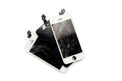 Drie gebroken vertoningen van mobiele telefoon royalty-vrije stock fotografie