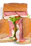 Drie gehele sandwiches van het tarwebrood Royalty-vrije Stock Foto
