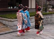 Drie geisha's Royalty-vrije Stock Foto