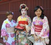 Drie geisha's Royalty-vrije Stock Fotografie