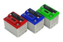 Drie gekleurde batterijenauto Royalty-vrije Stock Fotografie