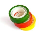 Drie gekleurde kleverige band royalty-vrije stock foto's