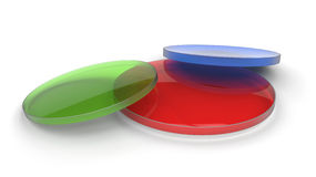 Drie gekleurde lenzen stock foto
