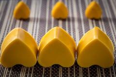 Drie gele zeepharten royalty-vrije stock afbeelding