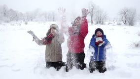 Drie gelukkige jonge geitjes die sneeuw op de winterpark werpen, langzame motie stock videobeelden