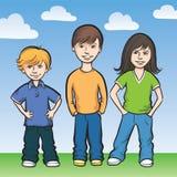 Drie gelukkige jonge geitjes status Stock Afbeelding