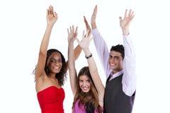 Drie gelukkige jonge vrienden Royalty-vrije Stock Fotografie