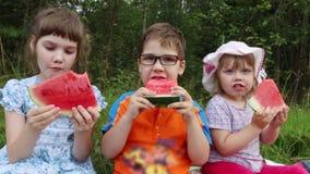 Drie gelukkige kinderen eten watermeloen stock footage