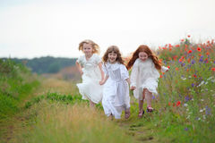 Drie gelukkige meisjes die op het gebied lopen Royalty-vrije Stock Foto