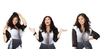 Drie gelukkige Modellen in een modieuze blouse Stock Fotografie