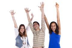 Drie gelukkige tieners Stock Afbeelding