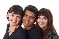 Drie gelukkige vrienden Stock Foto's
