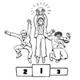 Drie gelukkige zakenlieden die op het winnende podium springen Vector Royalty-vrije Stock Foto's