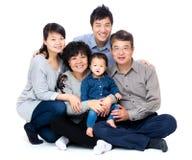 Drie generatie Aziatische familie Stock Foto's