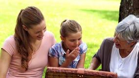 Drie generaties van vrouwen die een picknick hebben stock videobeelden
