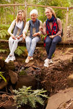 Drie generaties van vrouwen die op een brug in een bos zitten Royalty-vrije Stock Foto