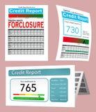 Drie generische kredietrapporten voor gebruik als grafisch middel worden hier gezien vector illustratie