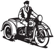 Drie gereden motorfiets stock illustratie