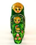 Drie geschilderde het nestelen poppen Royalty-vrije Stock Fotografie