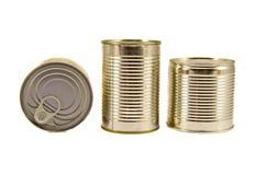 Drie gesloten die voedselblikken op wit worden geïsoleerd Royalty-vrije Stock Afbeeldingen